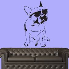 Georgia Bulldog Home Decor French Bulldog With Sunglasses Canine Pet Dogs Wall Sticker Home