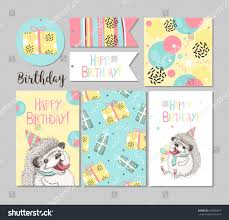 set greeting cards happy birthday funny stock vector 666996847