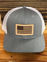 Usa Flag Hats Captuer Usa Flag Leather Patch Trucker Hat Heather Grey White Ag