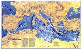 National Geographic Topo Maps 1982 Mediterranean Seafloor Map Historical Maps