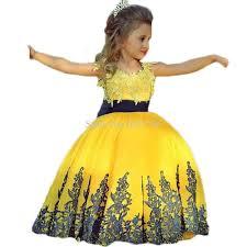 wholesale bright yellow new arrivel lace applique navy blue sash