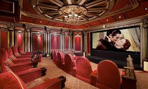 interior classic red home theater feature large black wall mount