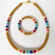 gold beaded necklace images African zulu beaded necklace and round bracelet set gold gone jpg