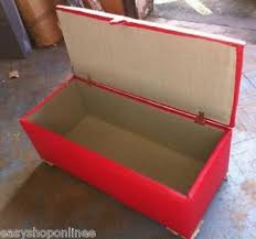 extra large red leather ottoman storage blanket toy box hinger lid