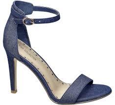 deichmann star collection women denim ankle strap heeled sandals