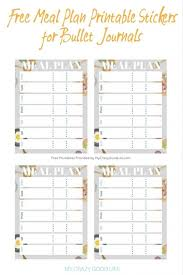 printable bullet journal planner free meal plan printable bullet journal stickers my crazy good life