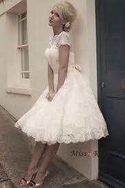 50s wedding dresses stock boat neck sash knee length sleeve 50 s vintage lace