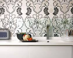 kitchen with black and white wallpaper backsplash low cost