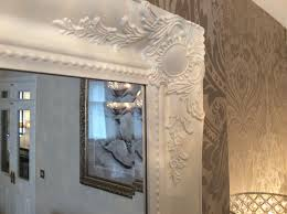 french white shabby chic ornate decorative over mantle wall mirror