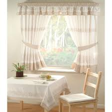 affordable simple design of the white bay window drapes curtains