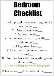 clean bedroom checklist bedroom cleaning check list this will be good for my daughter