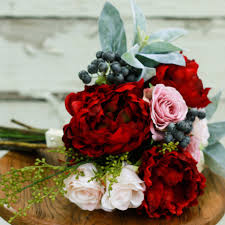 Silk Bridal Bouquet Marsala And Peony Silk Wedding Bouquet With Blush Peony Roses