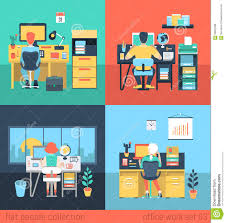 flat vector people work at home or office in workplace stock royalty free vector