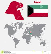 Kuwait On A Map Kuwait Map On A World Map With Flag And Map Pointer Vector
