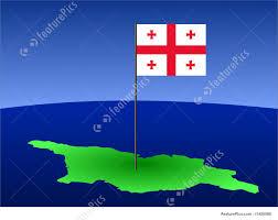 Georgia Flag Map Of Georgia With Flag Illustration