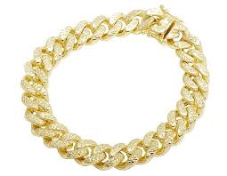 yellow gold bracelet with diamond images 10k yellow gold hollow diamond cut miami cuban bracelet 11mm 8 9 jpg