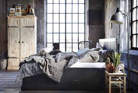 Rustic Vintage Bedroom - bedroom vintage bedroom with dark grey bed feat grey pillows and