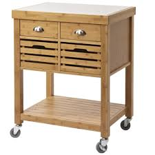 stainless steel top kitchen cart kenta stainless steel top bamboo kitchen cart ebay
