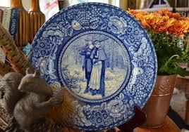 antique cobalt blue historical staffordshire transferware plat