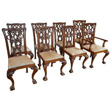 Chippendale Dining Room Chairs English Mahogany Chippendale Dining Chairs In Cowhide