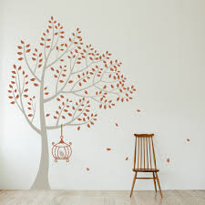 tall windy tree with birdcage wall decal