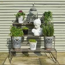 Summer Garden Theatre - three tier herb and plant theatre with zinc pot set plants