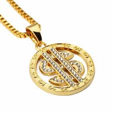 gold round necklace images Iced out gold round dollar sign pendant necklace small pendant men jpg