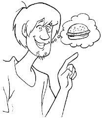 shaggy cartoon character colouring coloring pages