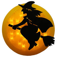 14 inch lighted witch in moon window decoration at