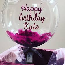 balloons in a box delivery send a special birthday message on a beautiful plum feather