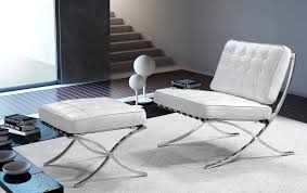 furniture white shag rugs with luxury white barcelona chair