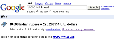currency converter from usd to inr use google to convert usd us dollars to indian rupees inr