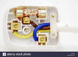correctly wired uk three pin mains plug showing colour coded wires