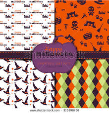 halloween backgrounds collection seamless patterns stock