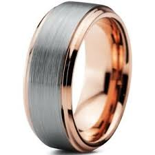 tungsten carbide gold brushed silver inlay mens wedding ring