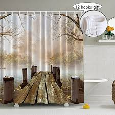 Rustic Shower Curtains Wooden Bridge Shower Curtain Decoration For Bathroom 3d Nature