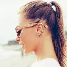 ear cuffs modern lines geometric 925 sterling silver single ear cuff