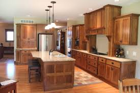 Cream Gloss Laminate Flooring Craftsman Style Kitchen Prairie Cabinets Brown Metal Mini Pendant