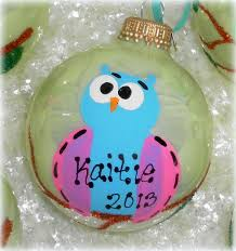 personalized painted owl tree ornament