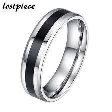 mens titanium rings lostpiece fashion men s titanium rings cool black center width 6mm