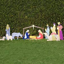 Outdoor Lighted Nativity Set - 100 lighted outdoor christmas nativity scene lighted plastic