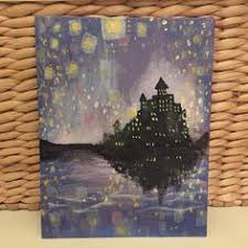 tangled lantern castle painting featuring rapunzels castle