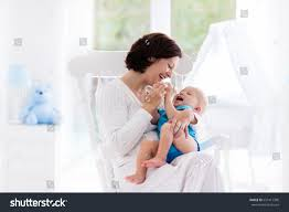 Mother S Rocking Chair Mother Baby Home Young Woman Holding Stock Photo 627417398