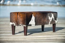 Bench Ottomans Gorgeous Brown And White Cowhide Bench Ottoman By Gorgeous