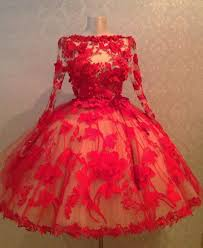 red ball gown short wedding dresses formal with applique tea