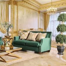 furniture of america verdante sofa and love seat emerald green