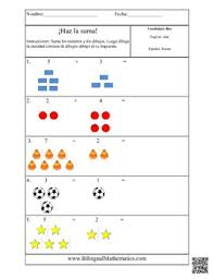 spanish math worksheets add it up simple addition by bilingual