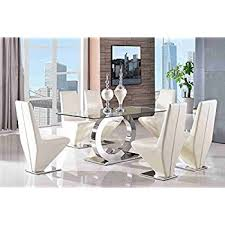 Milano X Oak Effect Glass Dining Table Set  Chairs Seater Amazon - Glass dining room table set