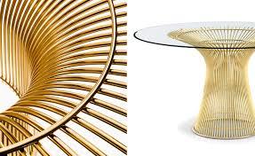 dining room warren platner gold 2017 dining table knoll 2