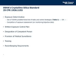 osha silica rule table 1 review of osha s silica standard for construction ppt download